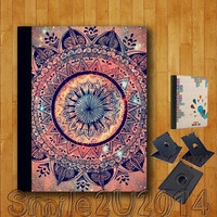 iPad Air case,Mandala,iPad Air Leather Case,can stand up and rotate freely,iPad Air leather Cover,custom image accept,full protection