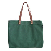 Waxed Moss Canvas Carryall Tote