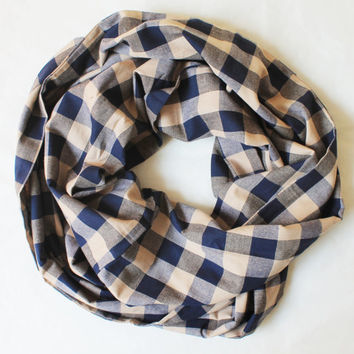 blue plaid scarf,infinity scarf, scarf, scarves, long scarf, loop scarf, gift