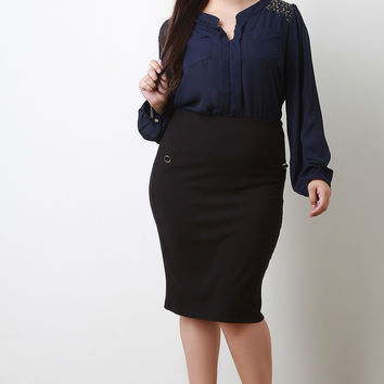 Button Faux Pocket Midi Pencil Skirt
