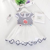 Baby Girls Dress Summer Cotton Stripe Floral Lace Tutu.