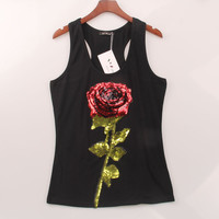 Rose Sequined Sexy Tank
