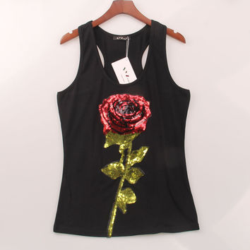 2 Colors Summer Style Tank Top Women Rose Sequins Sequined Vest Camisole Women Tops Fashion Sexy Sport Gym  Racer Back Tank Tops