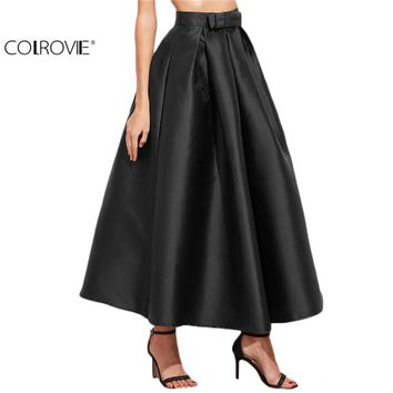 COLROVIE Vintage Skirts Womens Formal New Arrival Fashional Women Office Long Skirts Black Bow Trim Pleated Long Skirt