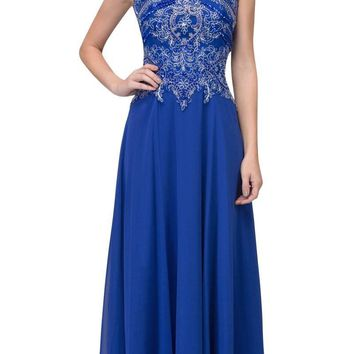 Royal Blue Appliqued Long Formal Dress High Neckline