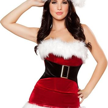 Red Patchwork Bustier Christmas Dress