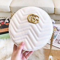 GUCCI New Fashion Leather High Quality Shoulder Bag Women White