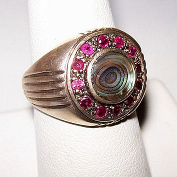 Ruby Sterling Silver Ring Abalone Shell & 12 Genuine Rubies Signed 925 Sz 7 Vintage