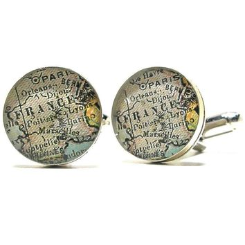 Paris Antique Map Cufflinks