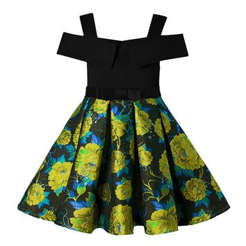 Children's girls dress Floral Jacquard strapless Princess Fashion Frocks For Birthday wedding party costumes 2 4 6 8 10 Years