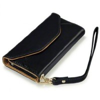 iPhone 5 Purse Style Wallet Leather Case (Black/Tan)