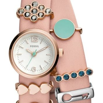 Fossil 'Georgia' Charm Leather Strap Watch Set, 21mm | Nordstrom