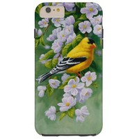 American Goldfinch and Pink Apple Blossoms Tough iPhone 6 Plus Case
