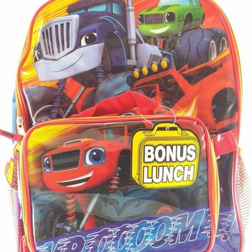 """Blaze Monster Machines 16"""" Canvas Blue & Red Backpack w/Detachable Lunch Bag"""