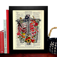 Rib Cage With Flowers Vintage Book Print, Eco Friendly Home, Kitchen, Bathroom, Nursery Decor, Dictionary Book Print Buy 2 Get 1 FREE