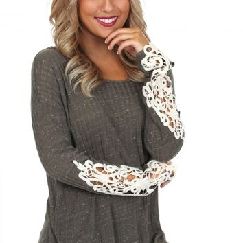 Crochet Sleeve Top Olive