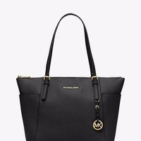Authentic MICHAEL KORS MK Black Leather Jet Set Tote $248