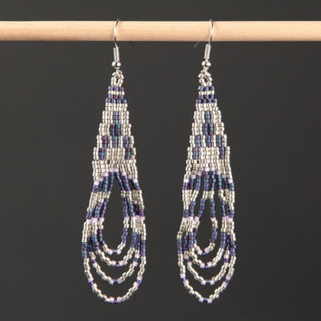 Bohemian Beaded Earrings Long Native American Style Artisanal Jewelry Southwestern Western Cowgirl Gypsy Peyote Stitch Dangly Dangle Fringe