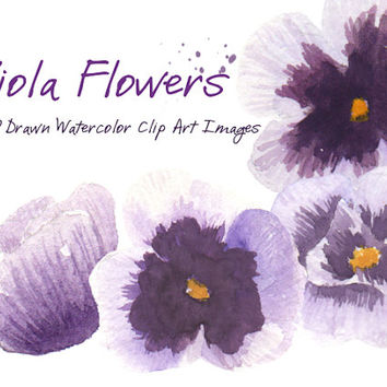 Viola Purple Flowers Watercolor Clip Arts for Scrapbooking Digital Files