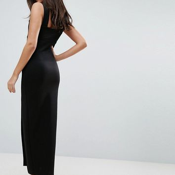 ASOS Square Neck Scuba Maxi Dress With Thigh Split at asos.com