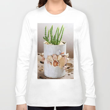 Cactus with seashells pot Long Sleeve T-shirt by Shashira Handmaker