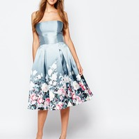 Chi Chi London Bandeau Midi Dress in Sateen Floral Print at asos.com