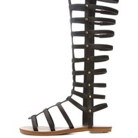 Black Knee-High Flat Gladiator Sandals by Charlotte Russe