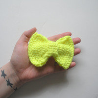 Large Crochet Bow Hair Clip Barrette in Neon Yellow, ready to ship. $6.00.