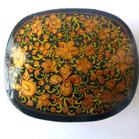Small Box - Vintage Wood Box - Flowers - Golden and Black