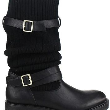 Black Uma Knit Convertible Boot