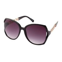 Black Chain-Sided Oversized Sunglasses by Charlotte Russe