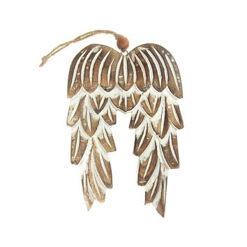 Hanging Mango Wood Angel Wings Christmas Tree Ornament, Natural, 8-Inch