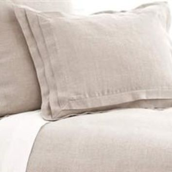 Pleated Linen Natural Duvet Cover and Shams