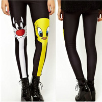 Cute Donald Duck and cat Leggings   Leggings