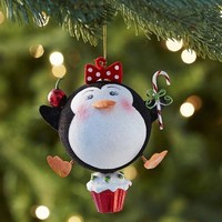 Glitter Penguin Girl on Cupcake Ornament$5.95