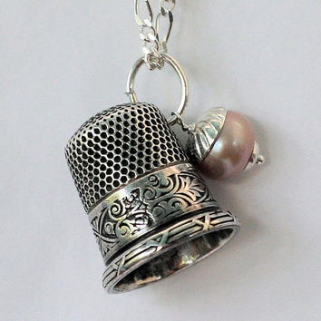 Early Art Deco Sterling Silver Antique Thimble Necklace with Acorn Peter Pan and Wendy