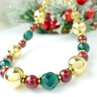Gold, Green, and Red Glass Acrylic Beaded Holiday Christmas Bracelet