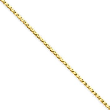 1mm, 14k Yellow Gold, Solid Franco Chain Necklace, 18 Inch