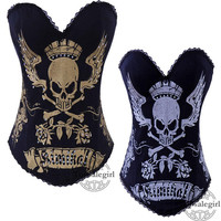 Black Goth Punk Rock Hook Corset Bustier Gold/Silver Skull Tattoo Boned S-2XL