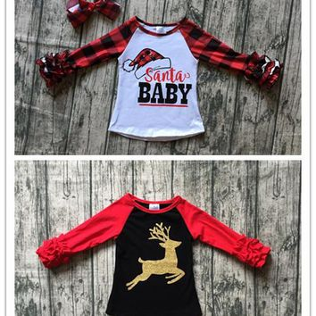 baby girls Christmas raglans Children gold reindeer top red sleeve Girls Santa baby print with plaid long sleeve top kids wear