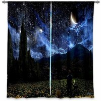 Window Curtains Unlined from DiaNoche Designs Artistic, Stylish, Unique, Decorative, Fun, Funky, Cool by Alex Ruiz Starry Night