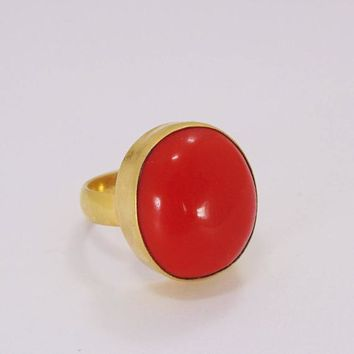 Handmade Ring, Red Coral Ring, 18K Yellow Gold Plated Ring, Brass Ring, Oval Stone Ring, Bezel Set Ring, Gold Statement Ring, Womens Ring