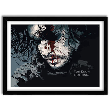 Jon Snow, Winter is Coming, Game of Thrones Poster, TV poster, You know nothing, Original Illustration, Wall Decor, Giclee Art,