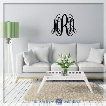 Monogram Wall Decal, 3 letter Vine Monogram, Personalized name decal, Personalized Monogram stickers, Monogram Decal