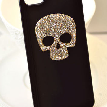 Bling Crystal Skull Metal Case Cover iPhone 4 4G 4S BK