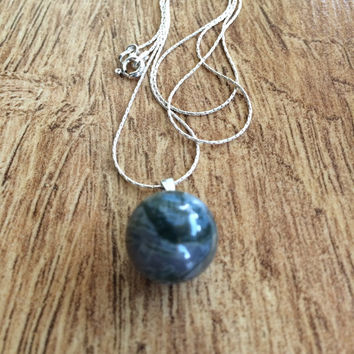Round Ball Pendant Necklace, Grey Ball Pendant, Sterling Silver Necklace, Gemstone Pendant Necklace, Layering Necklace, Gift Idea