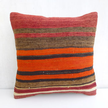 Tangerine Kilim Throw Pillow with Red and Brown Stripes
