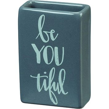 Be-You-Tiful Tiny Bud Vase Stoneware in Blue-Gray