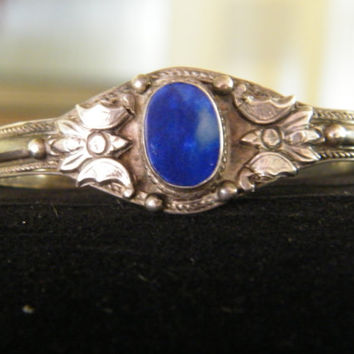 Vintage Sterling Silver and Lapis Lazuli Cuff