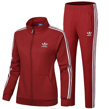 ADIDAS Clover women's spring and autumn running breathable jacket feet trousers sportswear two-piece Red